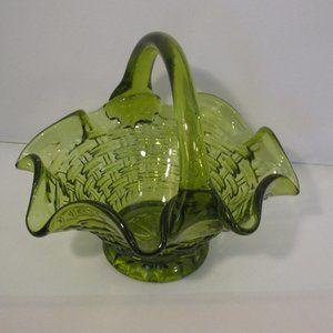 Basket Weave GREEN Glass Easter  Basket